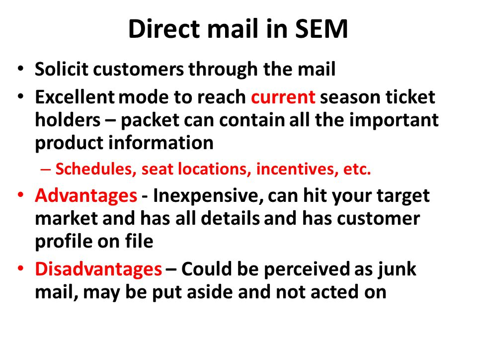 Direct mail in SEM Solicit customers through the mail