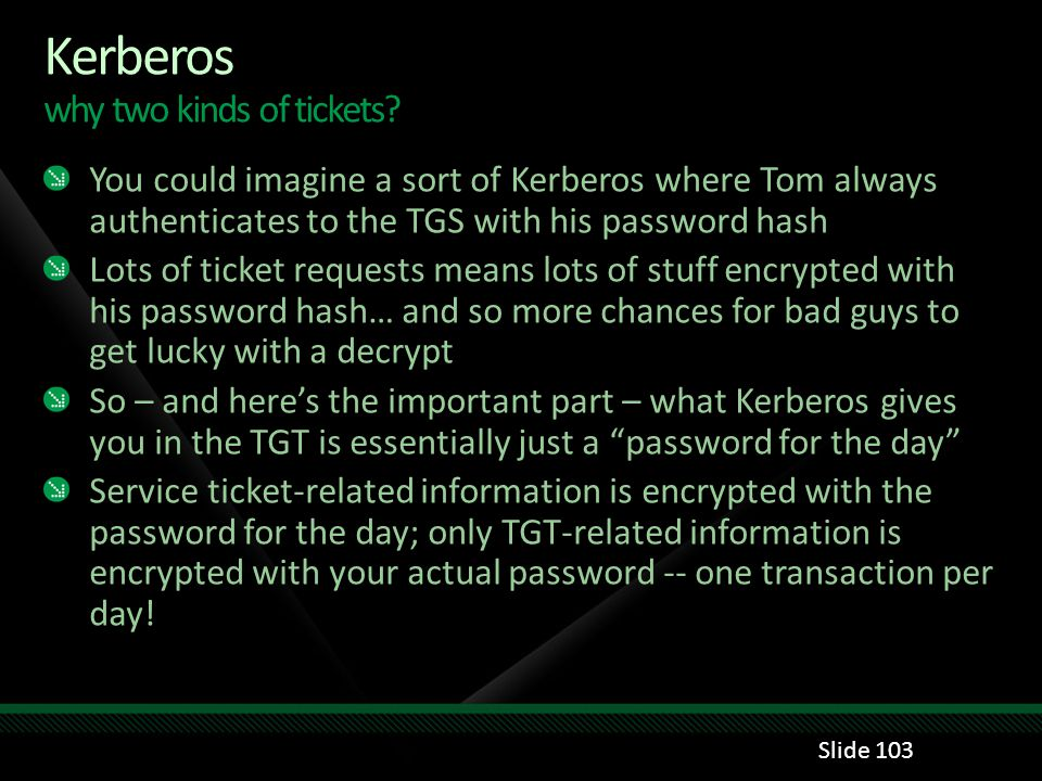Kerberos why two kinds of tickets