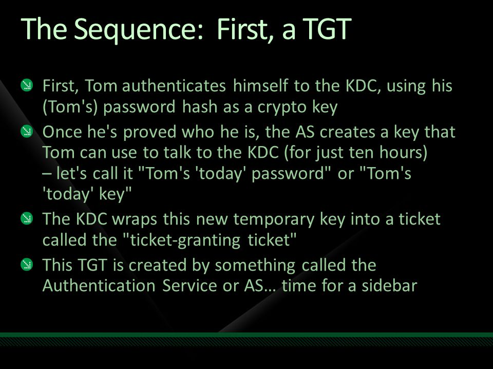 The Sequence: First, a TGT
