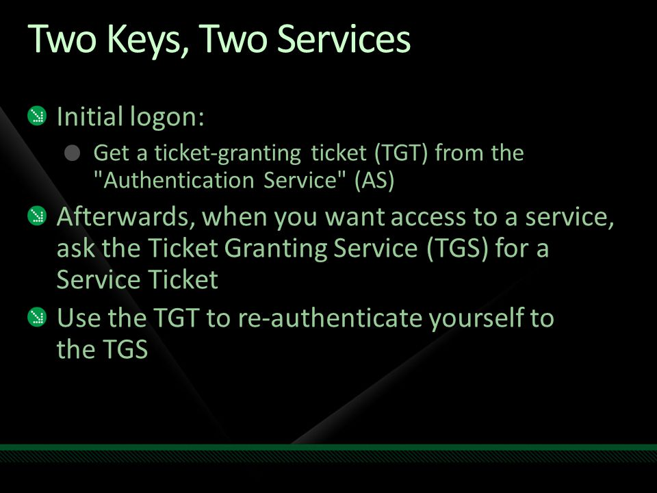 Two Keys, Two Services Initial logon: