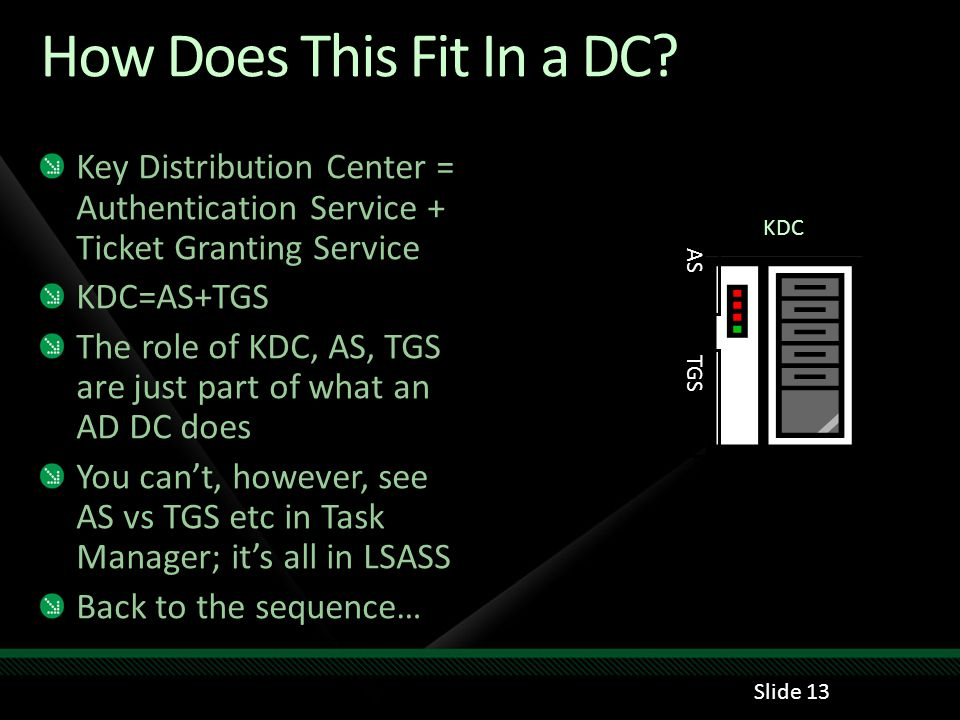 How Does This Fit In a DC Key Distribution Center = Authentication Service + Ticket Granting Service.