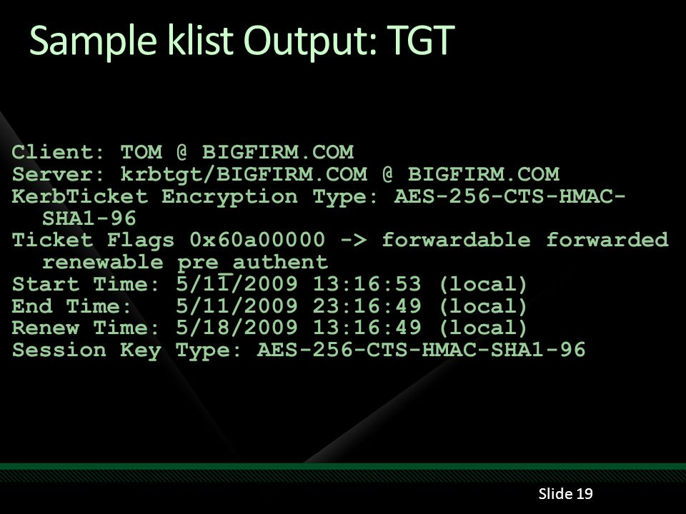 Sample klist Output: TGT