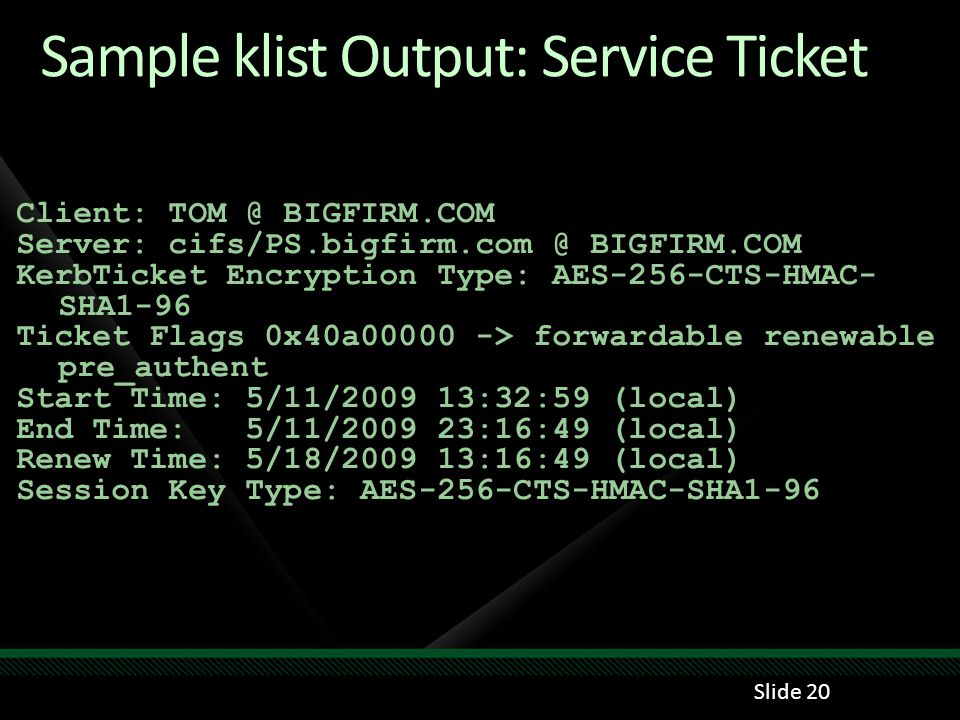 Sample klist Output: Service Ticket