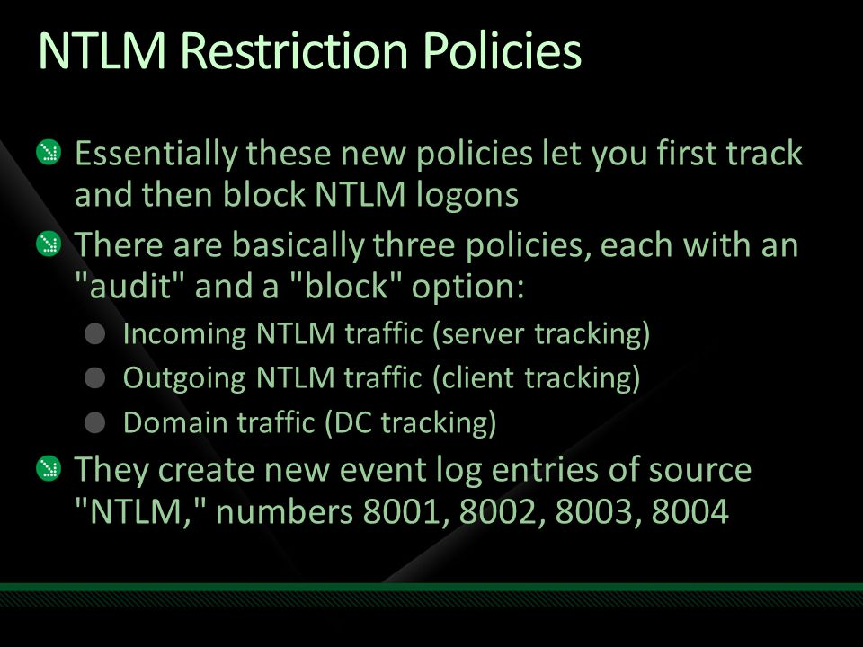 NTLM Restriction Policies