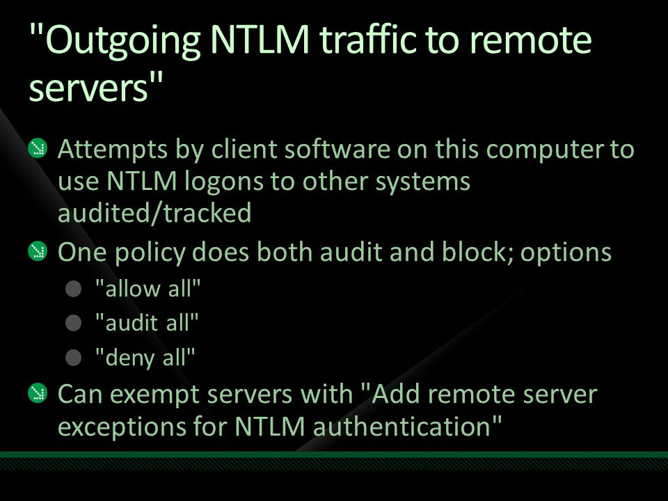 Outgoing NTLM traffic to remote servers