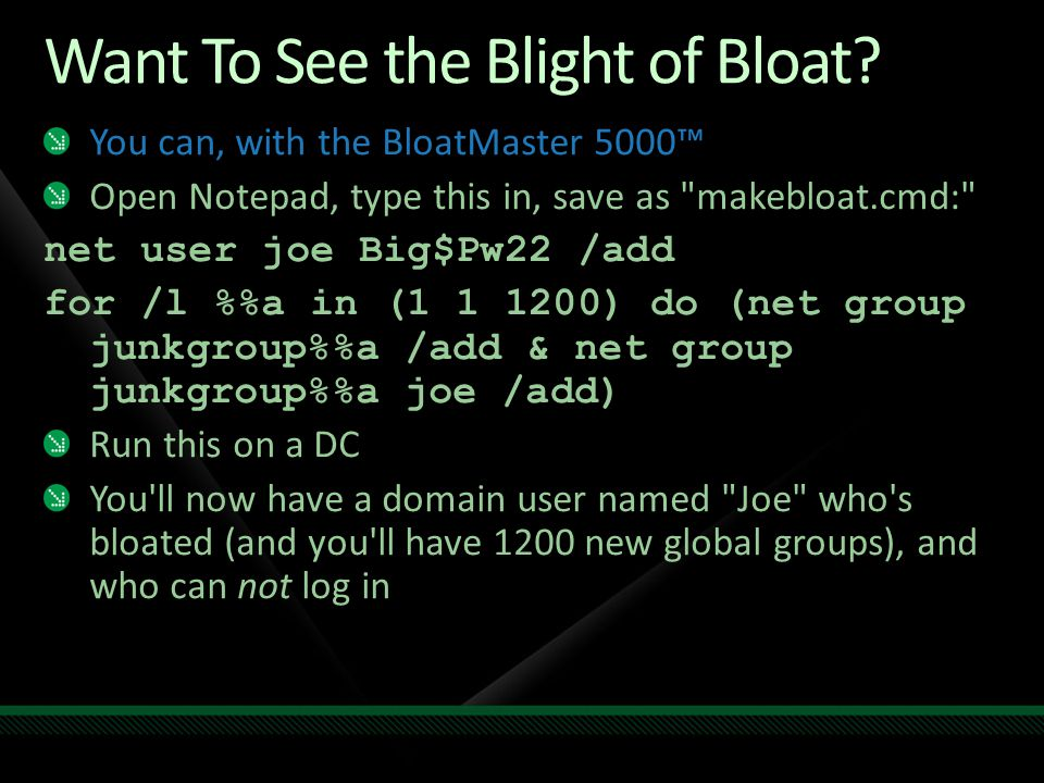 Want To See the Blight of Bloat