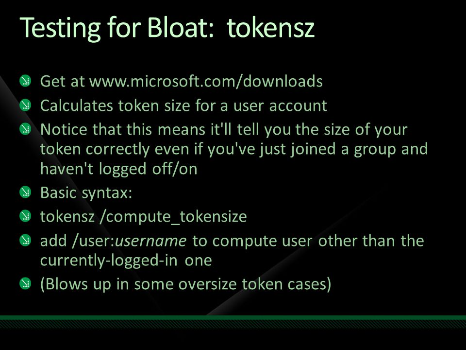 Testing for Bloat: tokensz