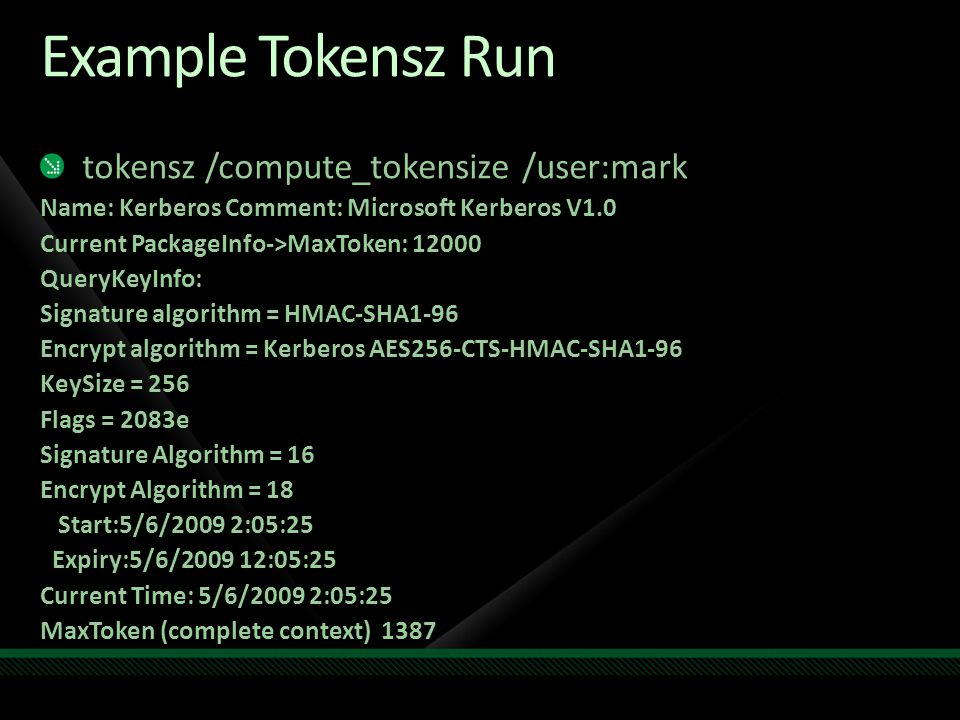 Example Tokensz Run tokensz /compute_tokensize /user:mark