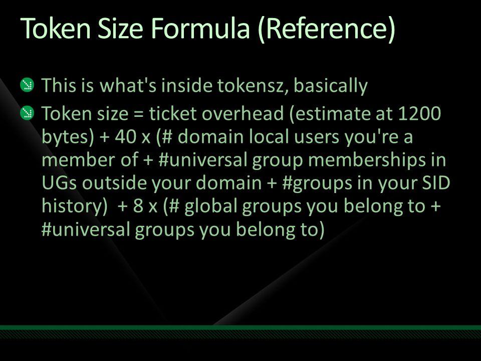 Token Size Formula (Reference)