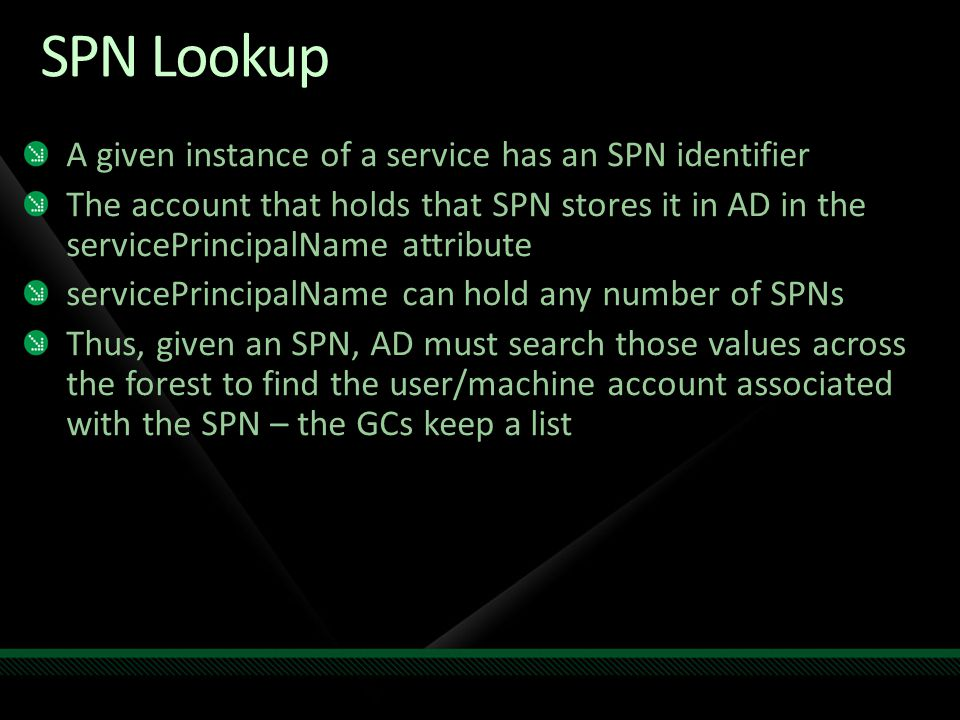 SPN Lookup A given instance of a service has an SPN identifier