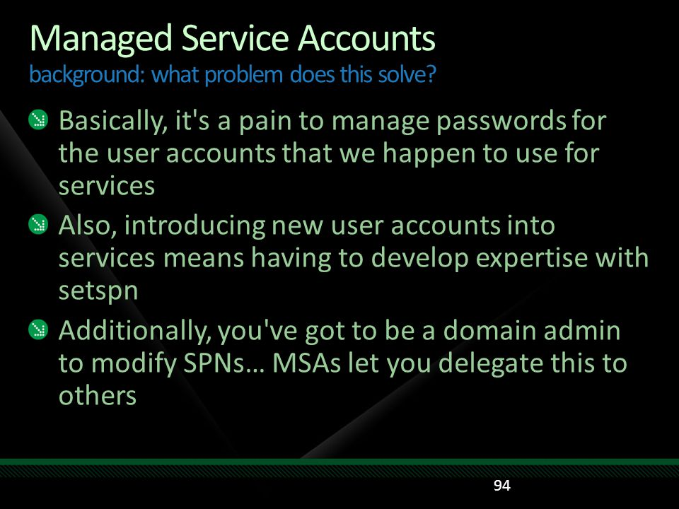 Managed Service Accounts background: what problem does this solve
