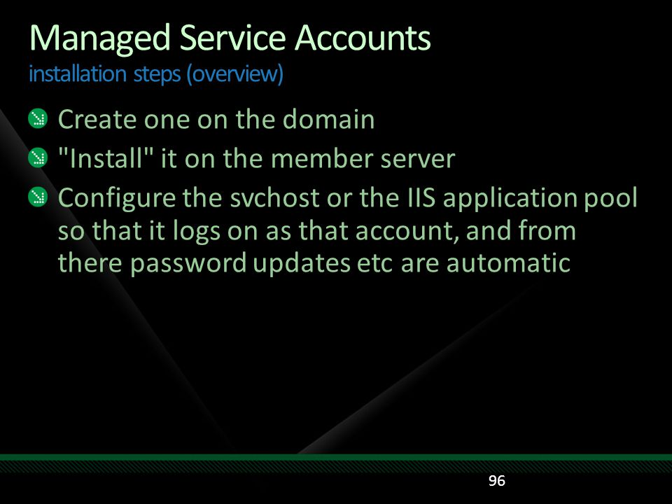 Managed Service Accounts installation steps (overview)