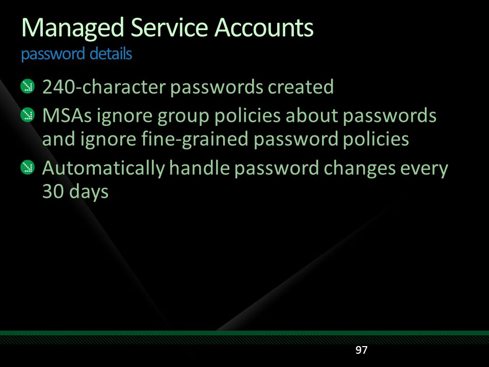 Managed Service Accounts password details