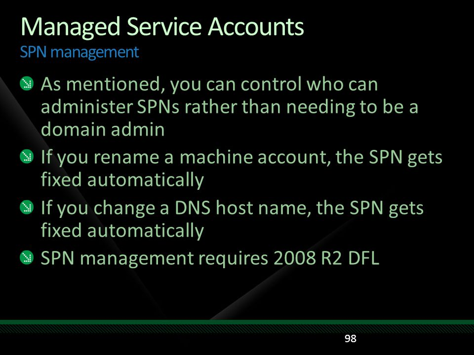 Managed Service Accounts SPN management