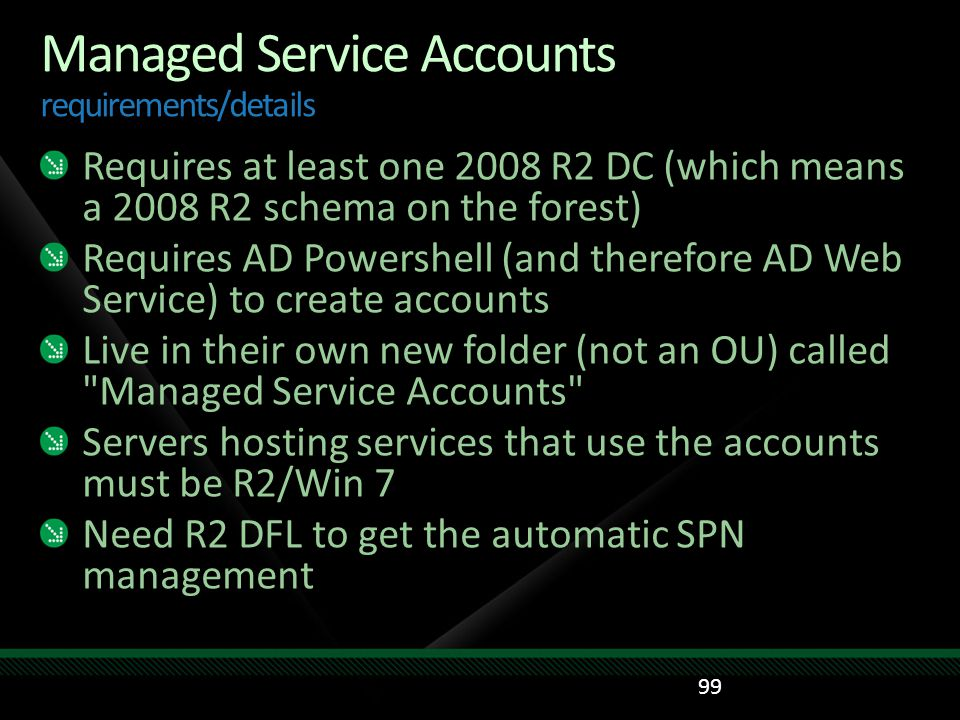 Managed Service Accounts requirements/details