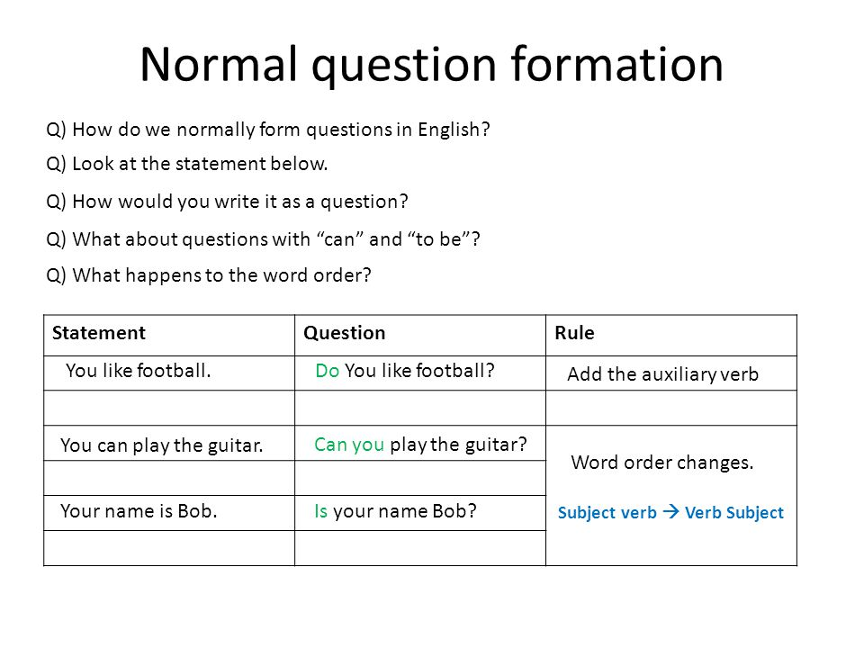 Normal question formation