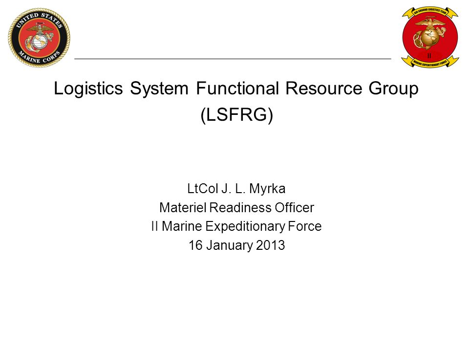 Logistics System Functional Resource Group (LSFRG)