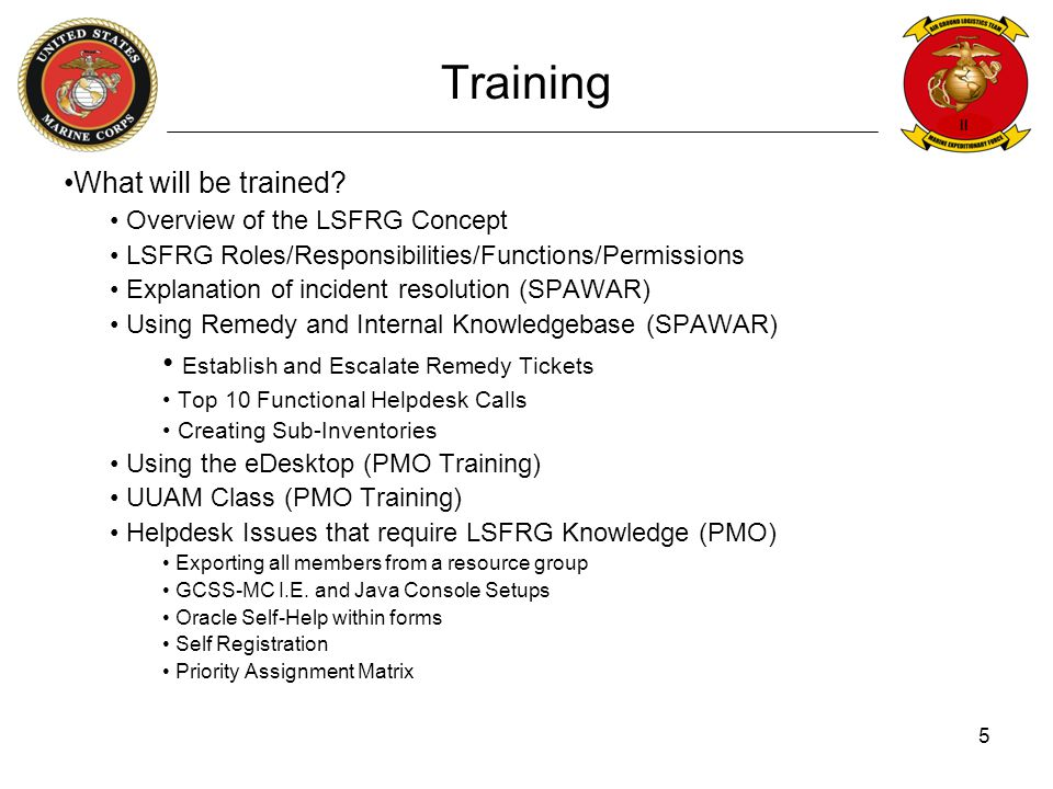 Training Establish and Escalate Remedy Tickets What will be trained