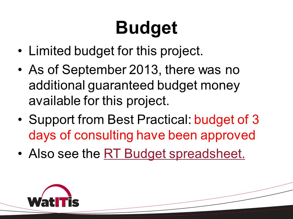 Budget Limited budget for this project.