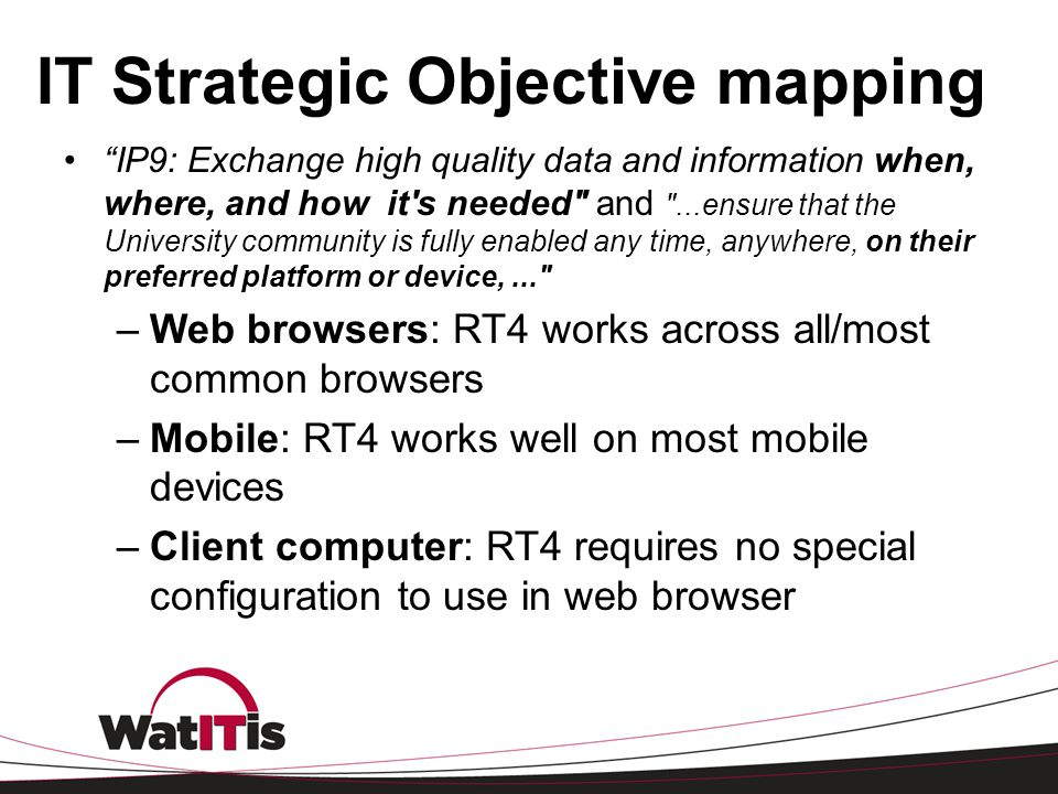 IT Strategic Objective mapping