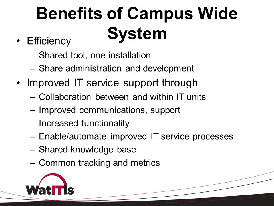 Benefits of Campus Wide System