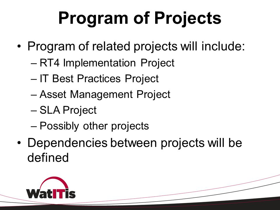 Program of Projects Program of related projects will include: