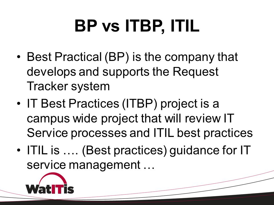 BP vs ITBP, ITIL Best Practical (BP) is the company that develops and supports the Request Tracker system.