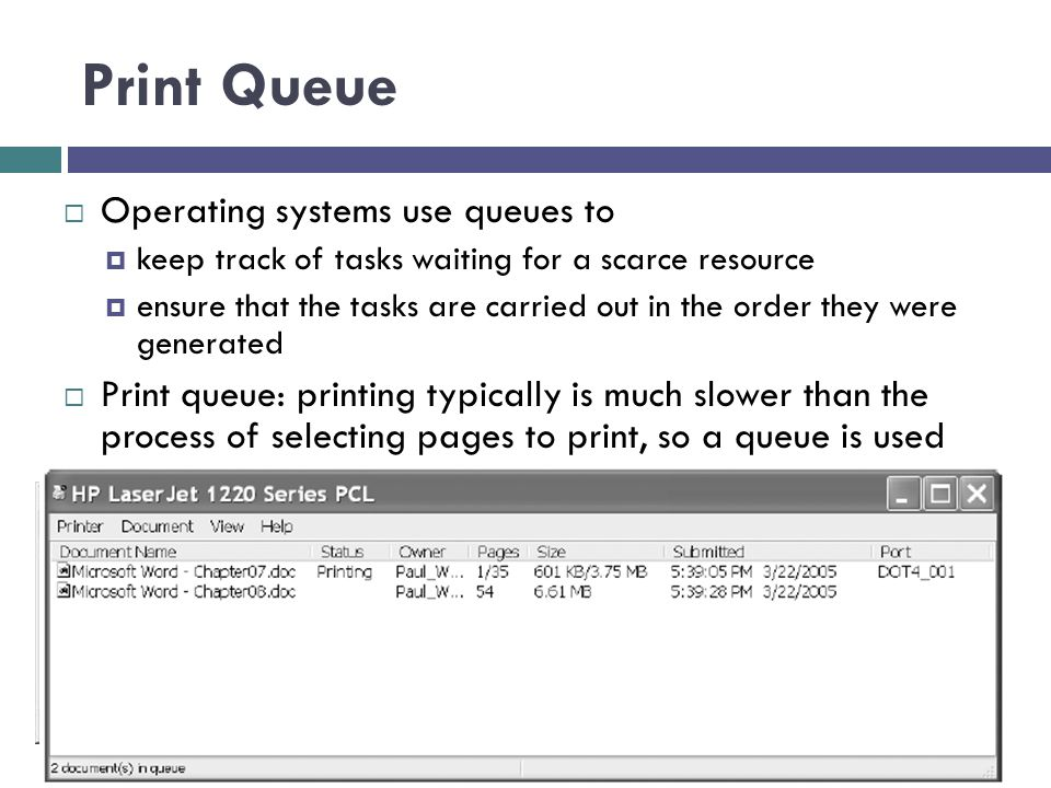 Print Queue Operating systems use queues to
