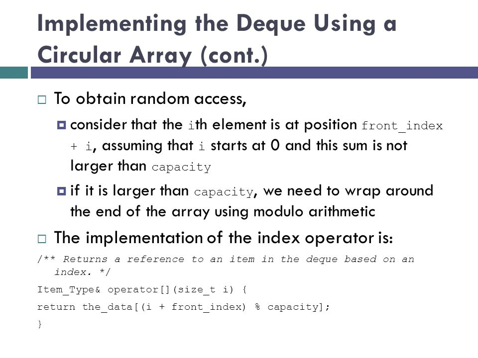 Implementing the Deque Using a Circular Array (cont.)