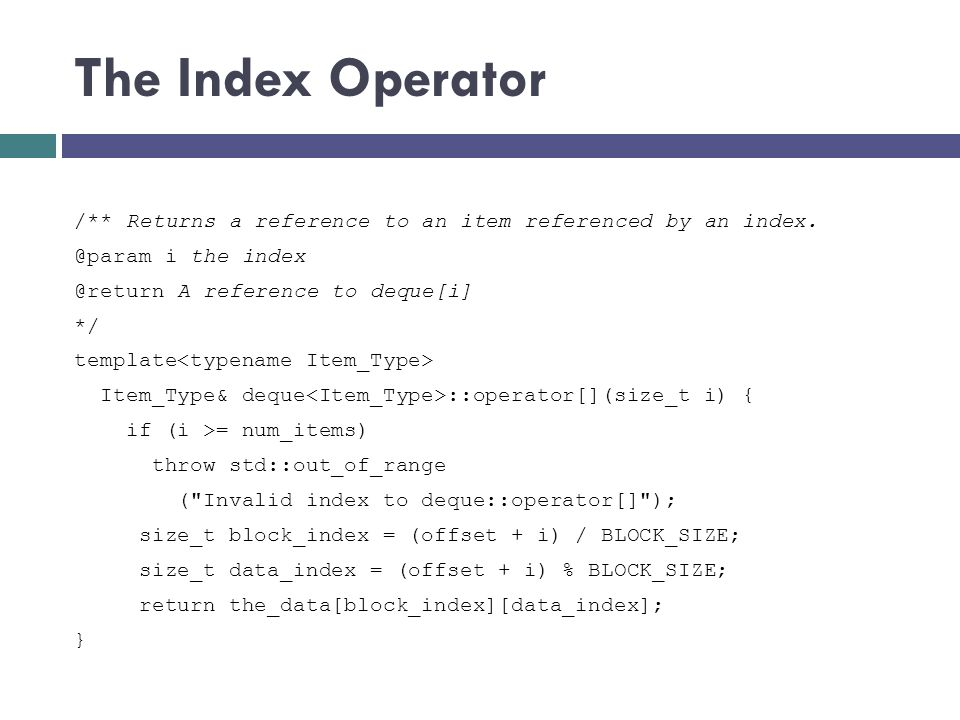 The Index Operator