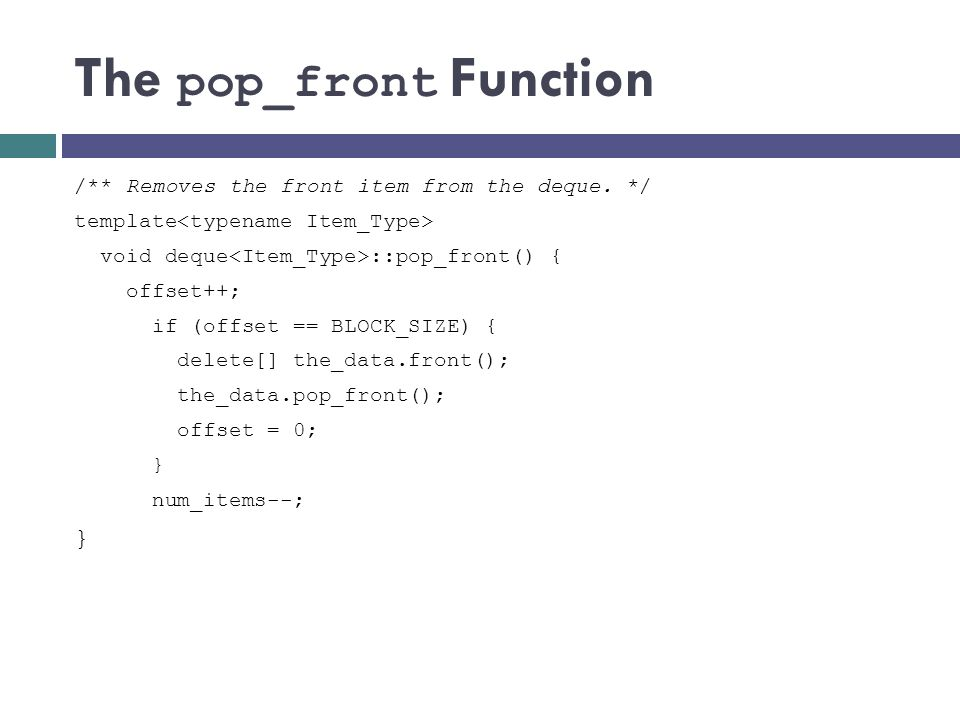 The pop_front Function