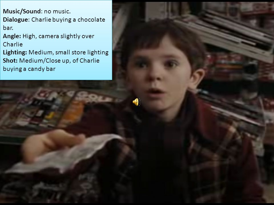 Music/Sound: no music. Dialogue: Charlie buying a chocolate bar. Angle: High, camera slightly over Charlie.