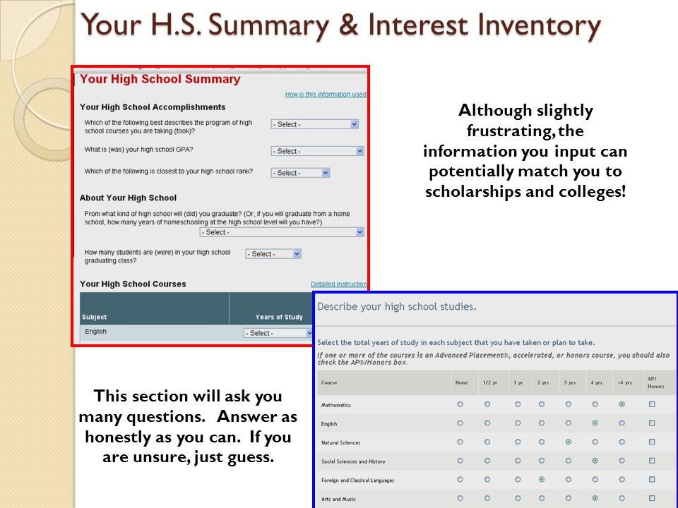 Your H.S. Summary & Interest Inventory