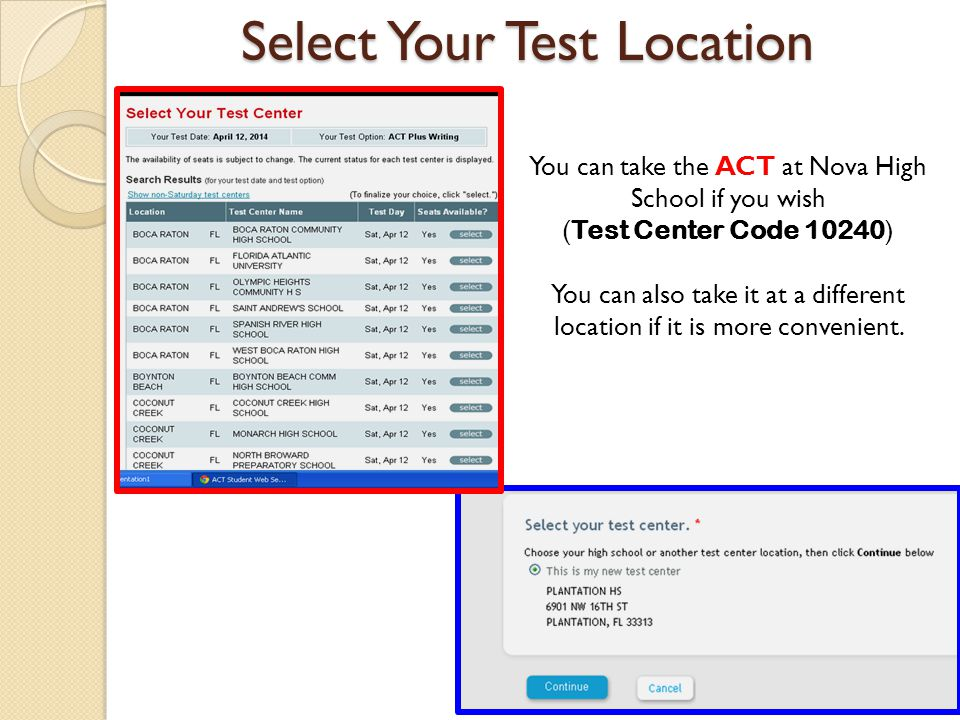 Select Your Test Location