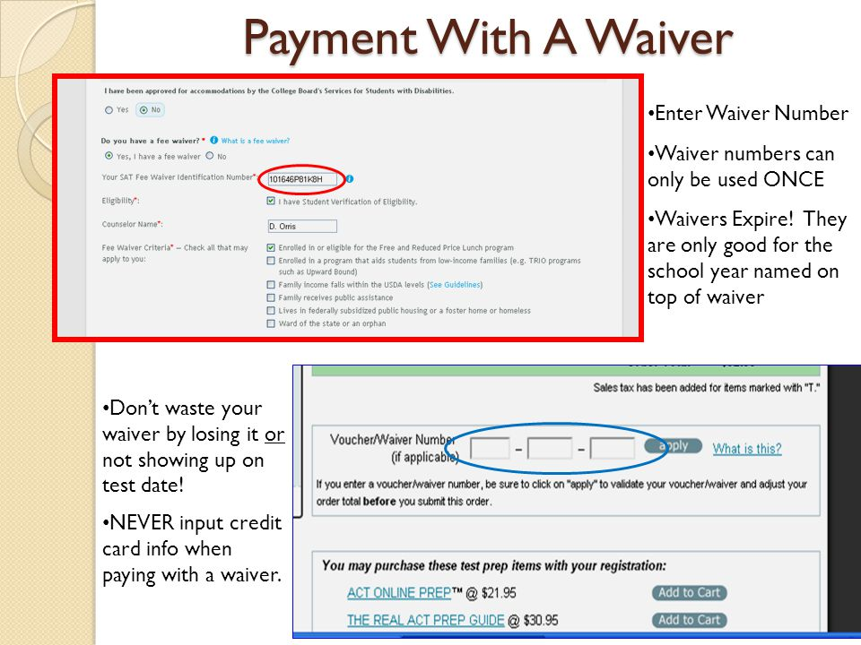 Payment With A Waiver Enter Waiver Number