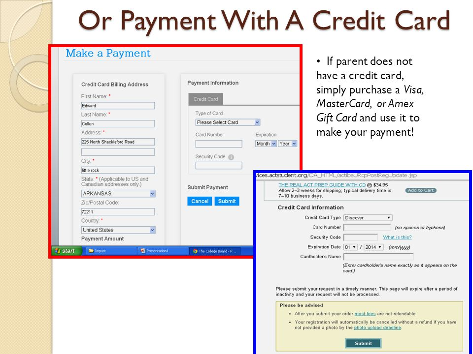 Or Payment With A Credit Card