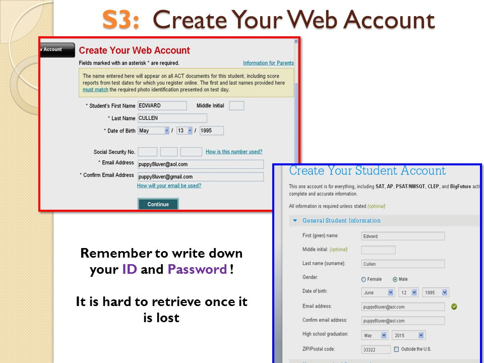 S3: Create Your Web Account