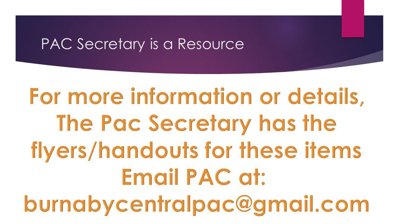 PAC Secretary is a Resource