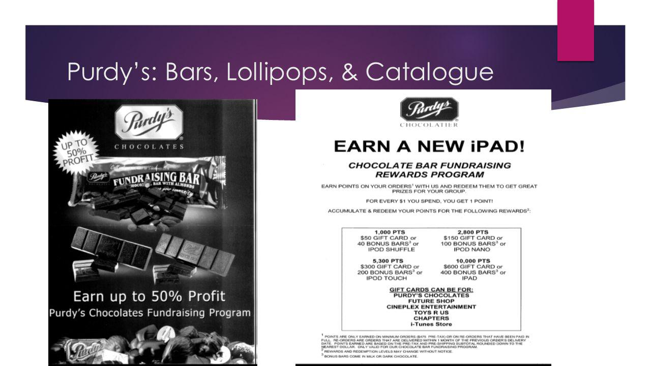 Purdy's: Bars, Lollipops, & Catalogue