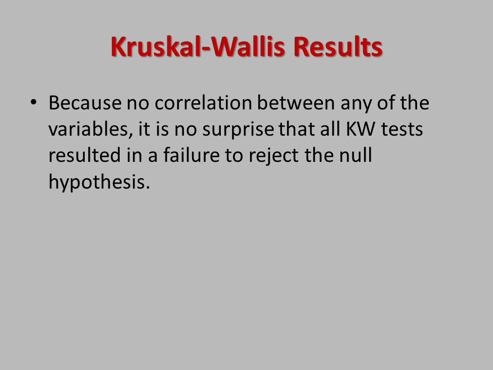 Kruskal-Wallis Results