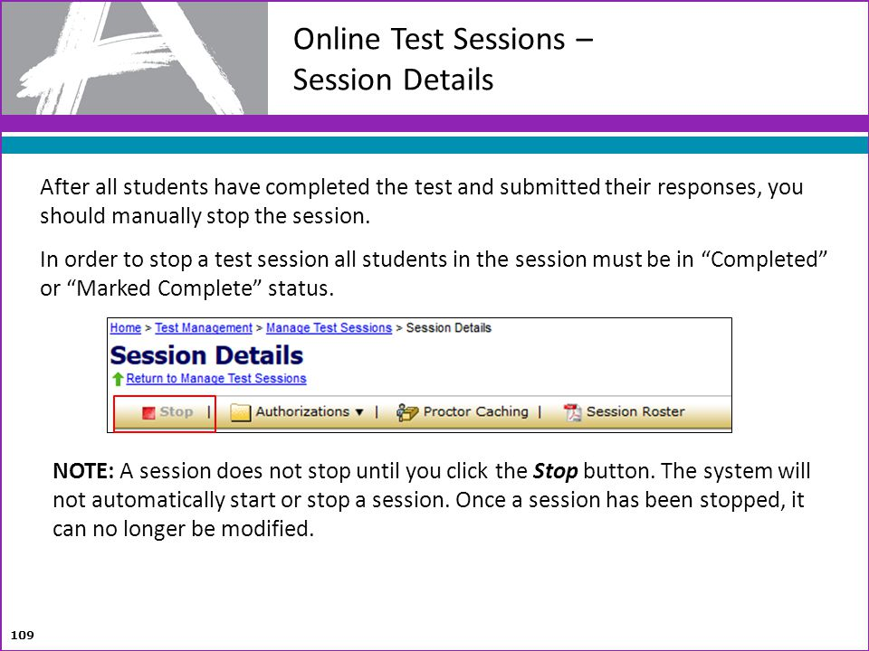 Online Test Sessions – Session Details