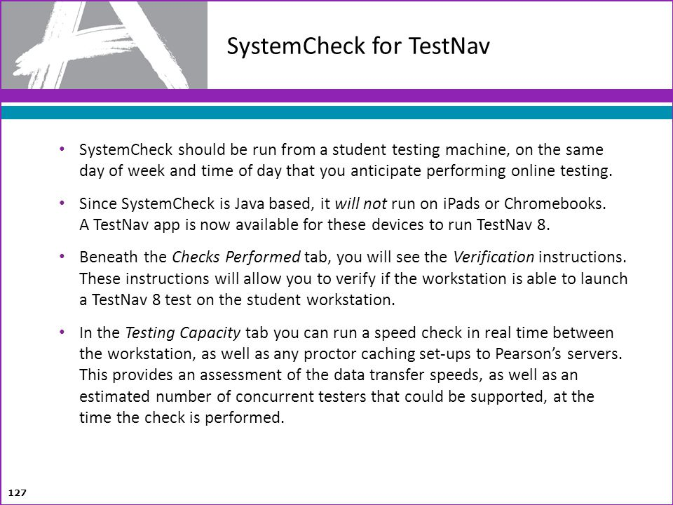 SystemCheck for TestNav