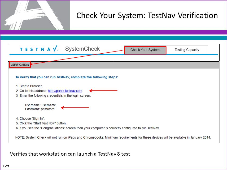 Check Your System: TestNav Verification