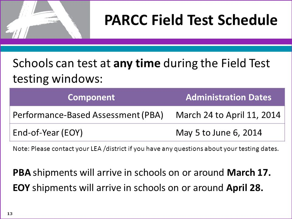 PARCC Field Test Schedule