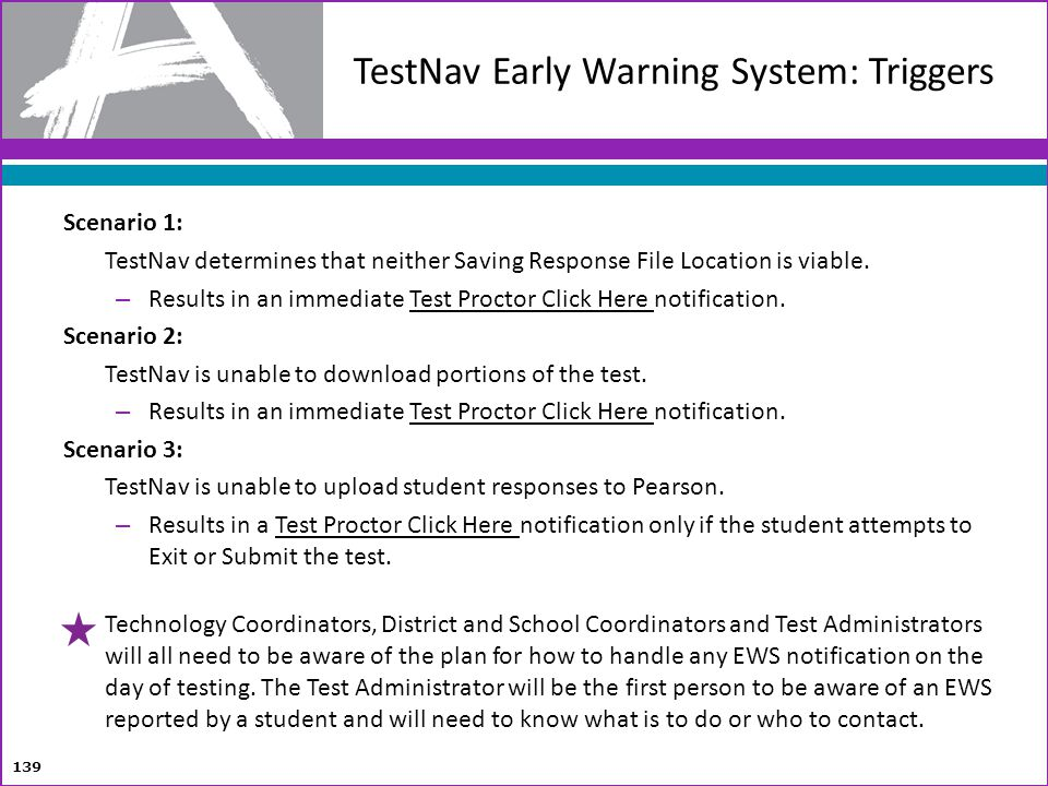 TestNav Early Warning System: Triggers