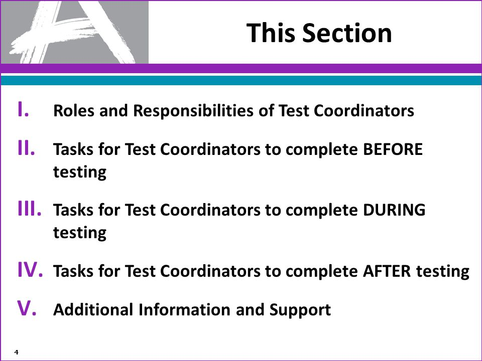 This Section Roles and Responsibilities of Test Coordinators