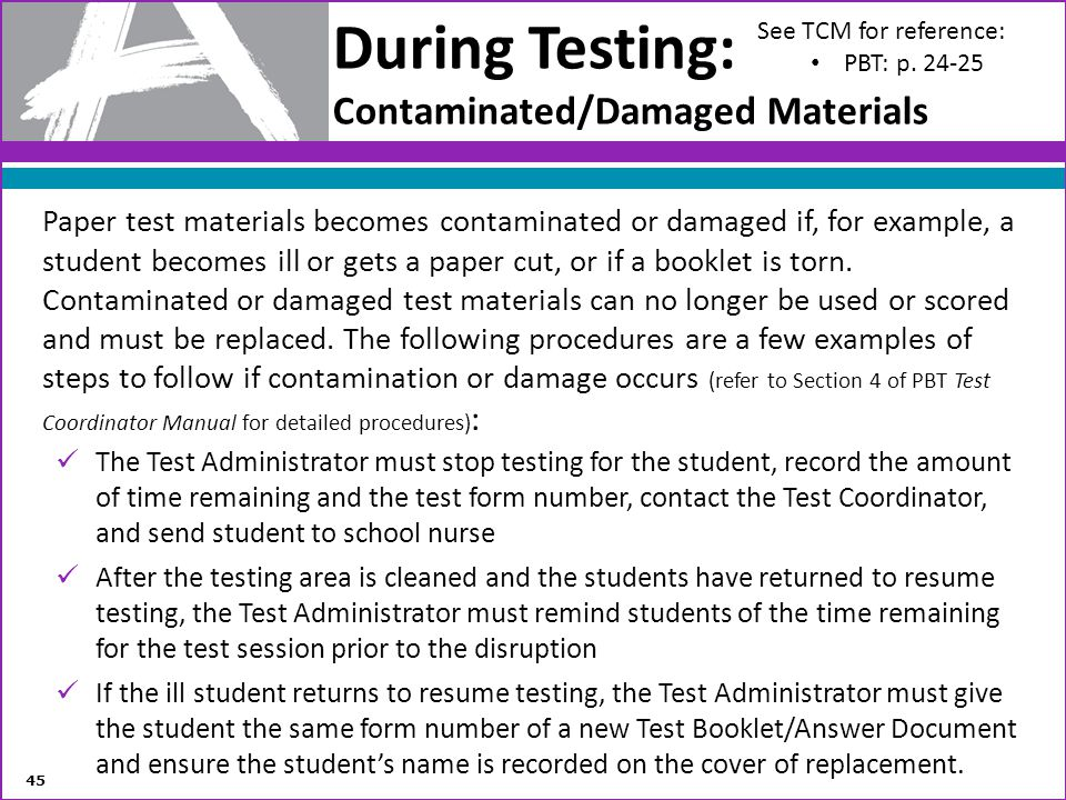 During Testing: Contaminated/Damaged Materials