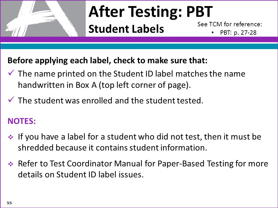 After Testing: PBT Student Labels