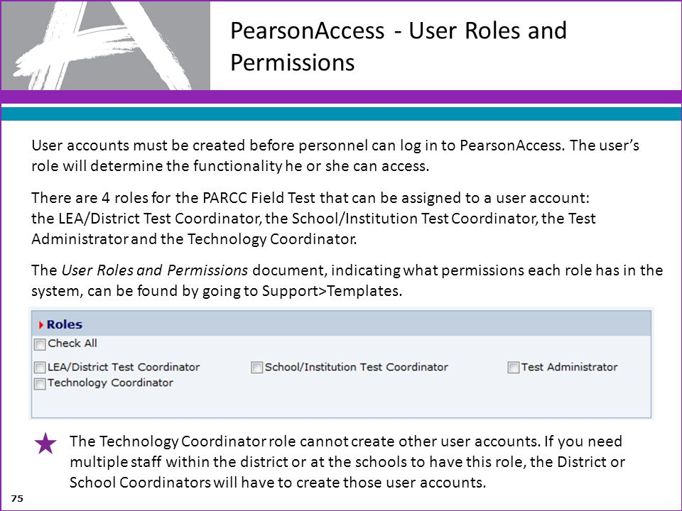 PearsonAccess - User Roles and Permissions