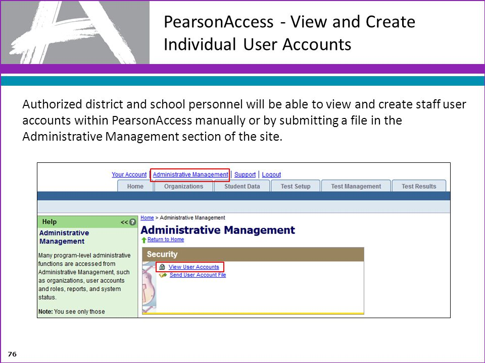 PearsonAccess - View and Create Individual User Accounts